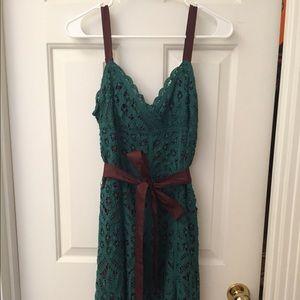 Betsey Johnson Brown & Blue/Green Lace Dress Sz 8